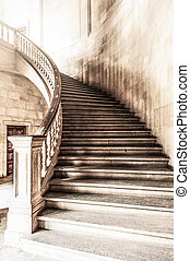 Vintage view of marble spiral staircase. - Marble winding...