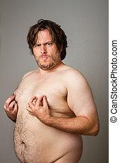 色情, 肥胖, 人, 玩, 他的, 乳頭