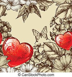 Vector seamless pattern Valentines Day with flowers and...