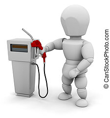 Person at a fuel pump - 3D render of someone with a fuel...