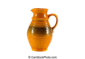 brown ceramics jug on white