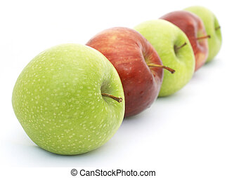 Red and green apples - Line of red and green apples -...