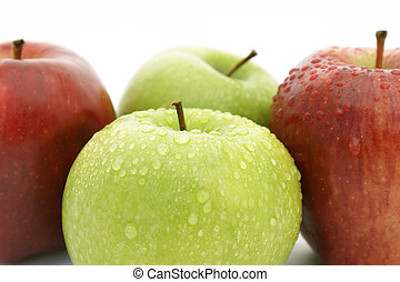 Red and green apples - Freshly washed red and green apples
