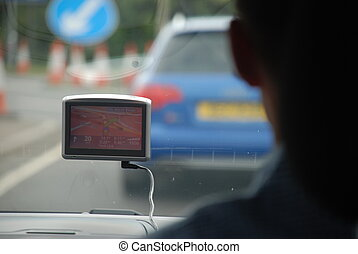 GPS on car windshield - Automotive navigation system...