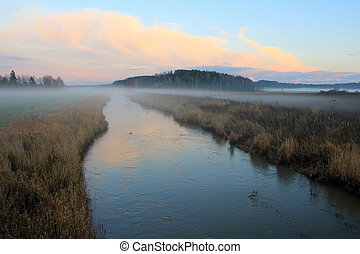 Mist over Blue River - Dusktime mist over blue Muurlanjoki...