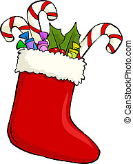 Sock of gifts - Red Christmas sock with gifts vector...