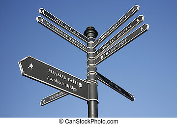 London Street Direction Sign Post - Sign with directions to...