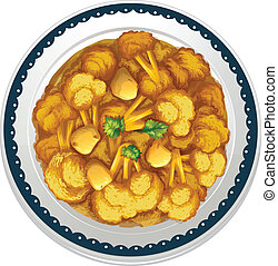Vegetarian curry - illustration of a vegetarian curry on a...