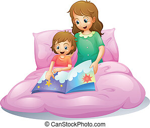mom and kid - illustration of mom and kid sitting on a bed