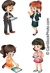 kids with various activities - illustration of kids with...