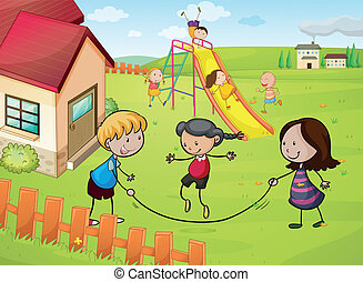 kids and a house - illustration of kids and a house in a...