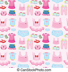 a baby garments - illustration of a baby garments on a pink...