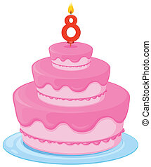a birthday cake - illustration of a birthday cake on a white...