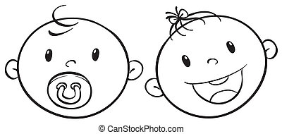 a baby faces sketch - illustration of two baby faces on a...
