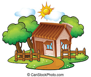 a house - illustration of a house in a beautiful nature