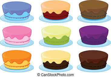 birthday cakes - illustration of birthday cakes on a white...