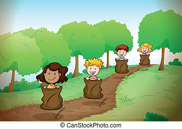 kids - illustration of kids in a beautiful nature