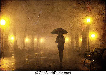 Single girl with umbrella at night alley Photo with noise