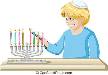 A Boy Lights A Hanukkiah Candle - A vector illustrations of...