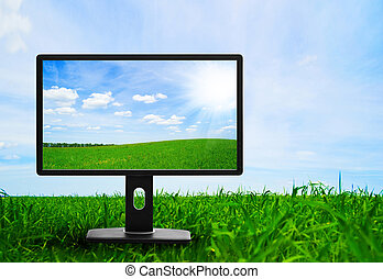 Large flat screen with nature images