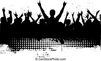 grunge audience - Silhouette of a crowd with grunge effect...