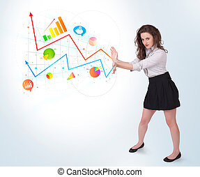 Young business woman presenting colorful charts and diagrams