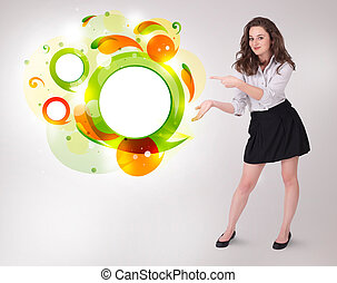 Young business woman presenting abstract copyspace on bright...