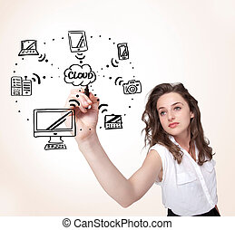 Young woman drawing a cloud computing on whiteboard - Young...