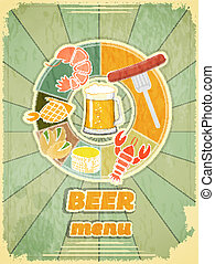 Retro Cover Menu for Beer - Grunge Design Beer Menu - glass...