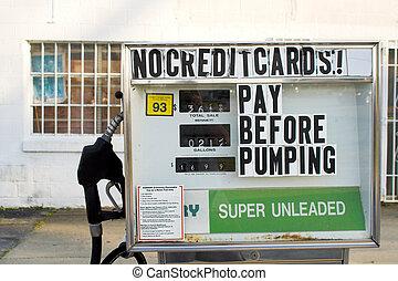 Old Gas Pumps - Old gas pumps with old gas prices.