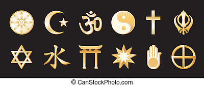 World Religions, Black Backgound - World Religions, gold...