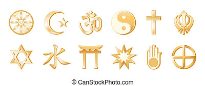 World Religions, White Background - World Religions, gold...