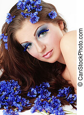 Girl in cornflowers - Beautiful young girl with fancy makeup...