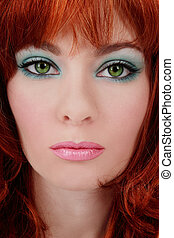 Turquoise makeup - Close-up portrait of beautiful red-haired...