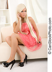 girl sitting on the sofa