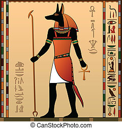 Ancient Egypt - Egyptian murals. Anubis - the jackal-headed...