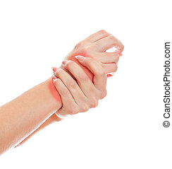 Close up view of female hands with wrist pain. Isolated on...