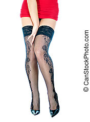 Woman legs in black stockings. Isolated on white.