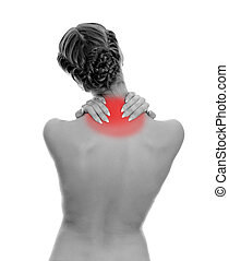 Rear view of young woman with neck pain Isolated on white...
