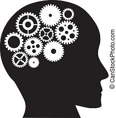 Human Head with Mechanical Gears Illustration - Human Head...