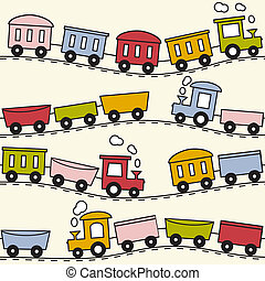 Train and rails - seamless pattern - Color trains, wagons...
