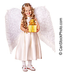 Child at angel costume holding gift box.  Full length.