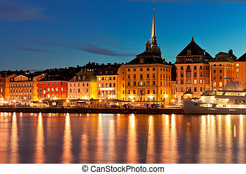 Night scenery of the Old Town in Stockholm, Sweden - Summer...