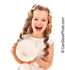 Child decorate Christmas tree - Child holding big white...