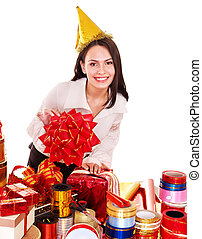Girl with group of color gift box. Isolated.