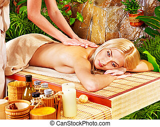 Woman getting massage in spa. - Blond woman getting massage...