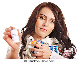 Woman having pills and tablets. - Young woman having pills...