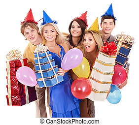 Group of young people in party hat holding gift box - Group...