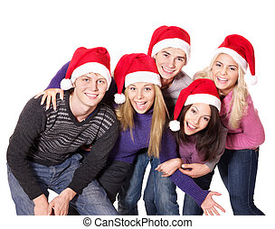 Group young people in santa hat