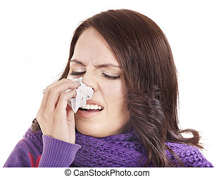 Sick woman with handkerchief having  cold.